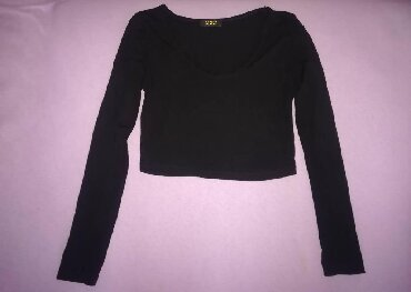 Crna bluza sdugim rukaviz italij - Srbija: Crna, uska, crop top bluza, velicina S. Moguce licno preuzimanje u
