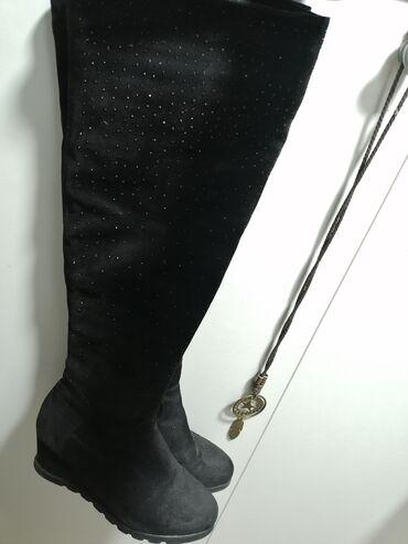 Aldo cizme - Srbija: Besprekorne cizme zift crne iznad kolena sa cirkonima i platformom