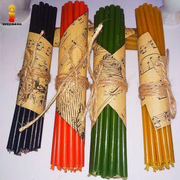 Свечи в ассортименте жёлтый, красный, черный, зелёный, голубой