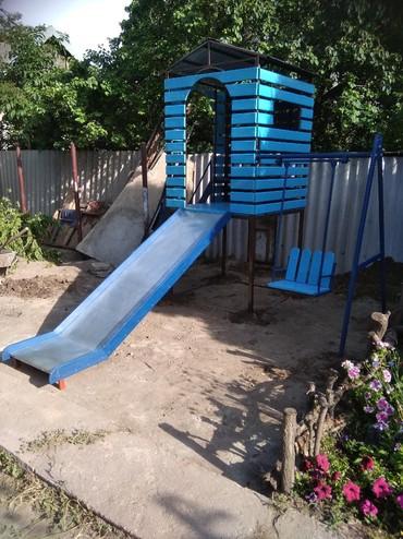качели-для-дома-детские в Кыргызстан: Игровой комплекс ( башня) ! детский домик, горка, качели! внутри