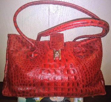 Torba nijansi - Srbija: Efektna crvena kozna torba kao nova Predivna torba od prave i cvrste