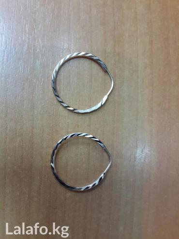 Маленькие серьги-кольца с алмазкой х в Бишкек