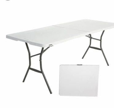 Стол пластик складной 1.5мх0,75м в сложеном виде 75смх75см Звоните!!!