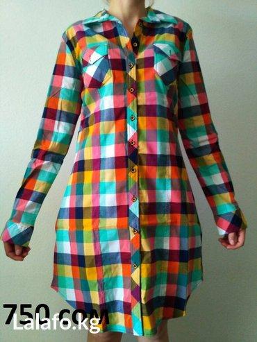 турецкая блуза в Кыргызстан: Турецкие рубашки-платье, размеры 42-44(турецкий размер)