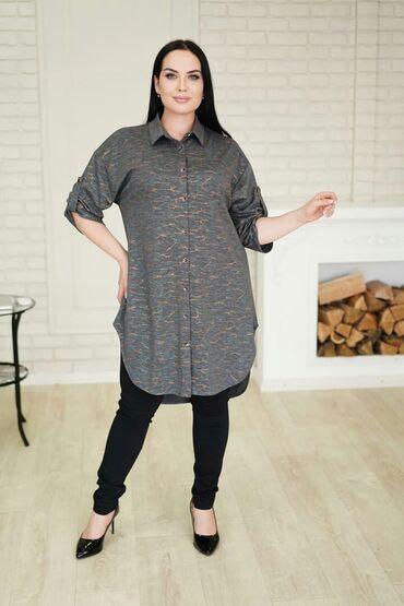 Удлиненная рубашка туникаТкань трикотажРазмер остался 50 Цена 1300 сом
