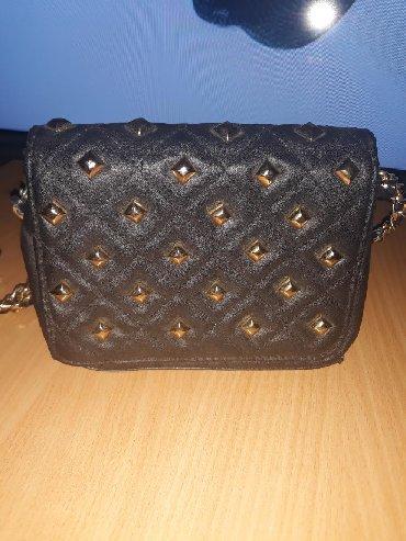Prelepa crna kozna elegantna torbica