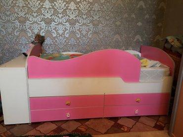 Кроватка для ДЕВОЧЕК👧 с защитными бортиками и с 4 выдвижными ящиками+д в Бишкек