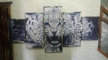 """Модульная картина из 5-ти частей """"Леопард"""". Печать на холсте. Декор"""
