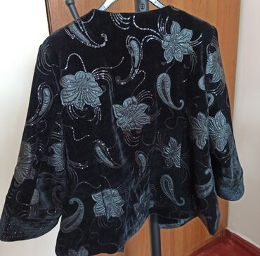 шикарное вечерние платье в Кыргызстан: Обалденно красивый пиджак для серьезных дам. Черный бархат, с кожаными