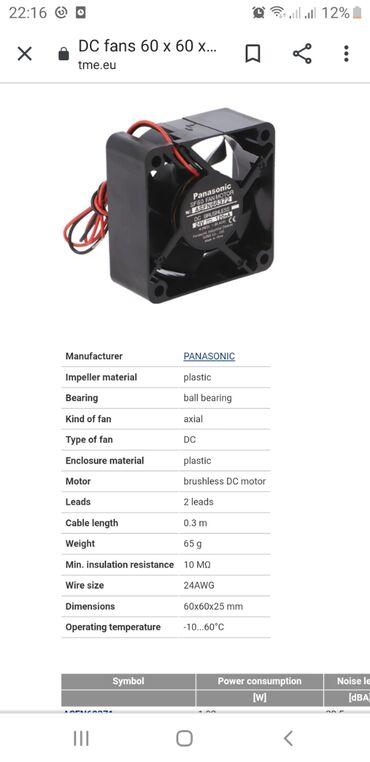 Elektro motori - Srbija: Panasonic ventilatori. DC FAN Motor ASFN66372. Cena 1000 po komadu ili