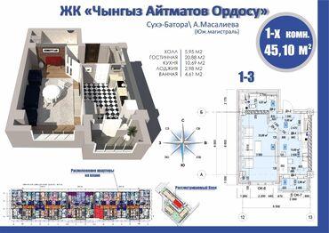 квартира одна комната in Кыргызстан   ПРОДАЖА КВАРТИР: Элитка, 1 комната, 45 кв. м