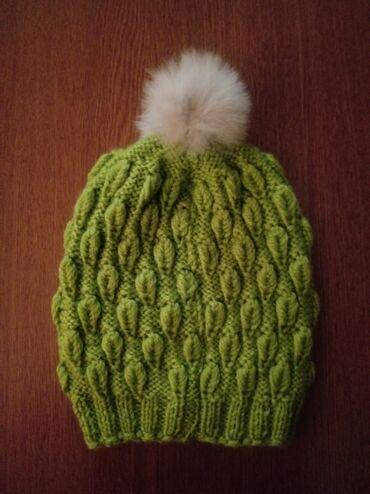 Kape - Srbija: Zenska kapa sa pufnom boja je kivi zelena