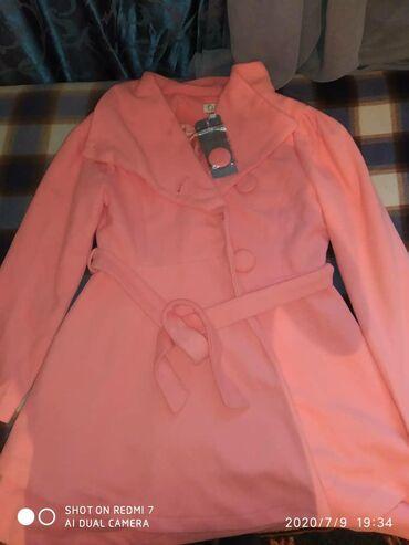 Продается пальто. Токмок. Размер 42-44. Розовое. Новое