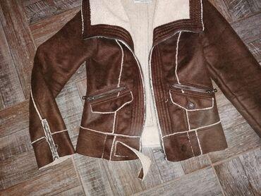 Kozna jakna sa krznom - Srbija: Zimska kozna jakna sa krznom, c&a. Velicina S, kao nova Samo 1500