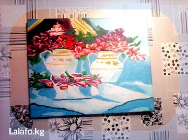 """Картина, натюрморт """"Цветы"""" краски акриловые, размер: 39 см на 50 см, в Бишкек"""