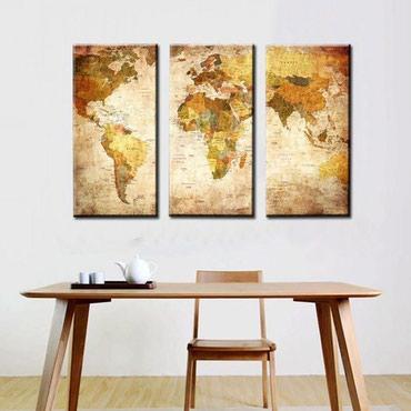 """Картины и фото в Кыргызстан: """"Карта мира"""" - модульная картина из 3-х частей. печать на холсте"""