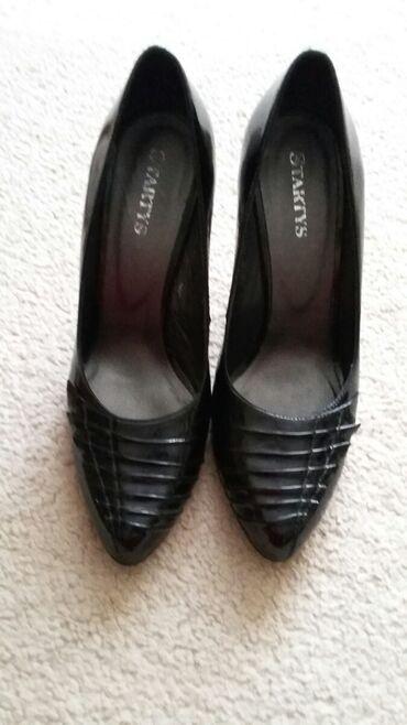 Туфли женские, черные, лакированная натуральная кожа.Размер 38-38.5