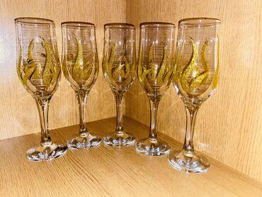 5 ədəd şampan bokalı, qırığı yoxdur