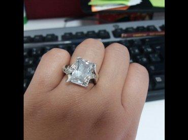 Продаю серебряное колечко с большим камнем проба 925 , размер 17-18 in Бишкек