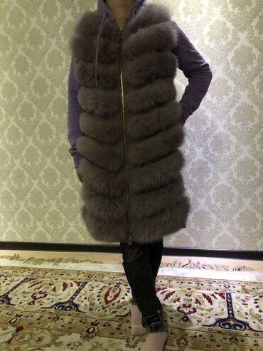 Жилетки - Кыргызстан: Жилетка песец почти новый пару раз одевала покупала 90см