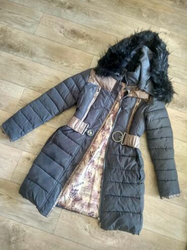For sale long snow coats only with soft fur and belt on waist for