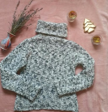 Dzemper vuna - Srbija: Debeli vuneni zimski dzemper, univerzalna velicina, crno belo sivi