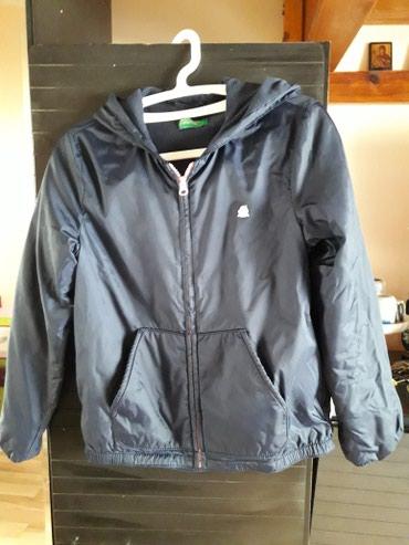 Benetton-decji-duks-xl - Srbija: Benetton jakna za devojčice, šuškava, teget boje, velicina XL (za 9-11