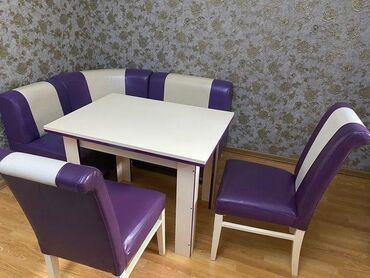 Metbex masasi ve divan, oturacaqlarla. Qiymet 300 azn. Unvan Ehmedli