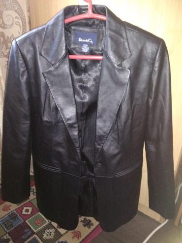 Новый кожаный женский пиджак чёрного цвета, размер-46 в Бишкек