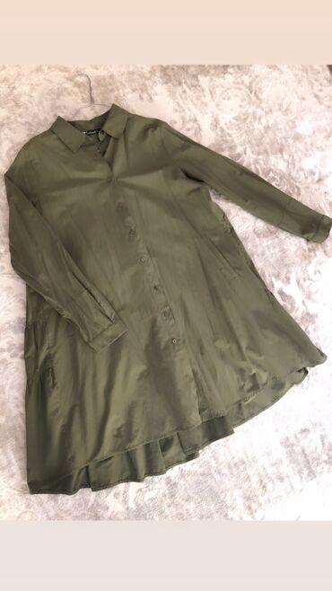 Удлинённая Рубашка в модном цвете Хаки. Турция. Размер «стандарт»