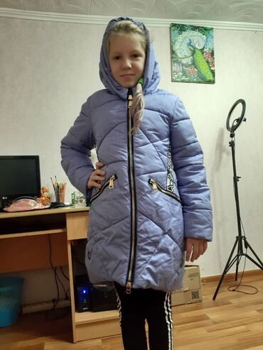 Куртка на 9-11 лет зимняя фиолетовая очень тёплая