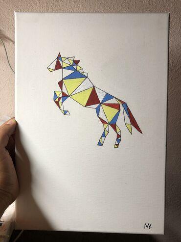 Geometric minimalist horse 32x23cm