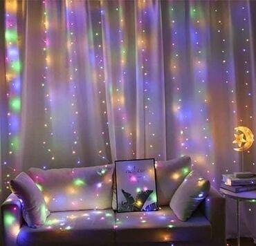 Novogodišnja LED zavesa lampice3x3m= 2000 dinara. - bela, plava
