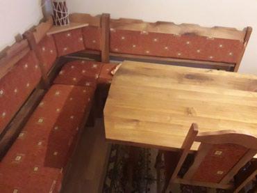 Kuća i bašta - Loznica: Rucno radjen stoklupa i stolice!drvo je orahovina. nikad korisceno