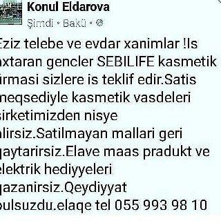 Bakı şəhərində xanimlara is teklifi