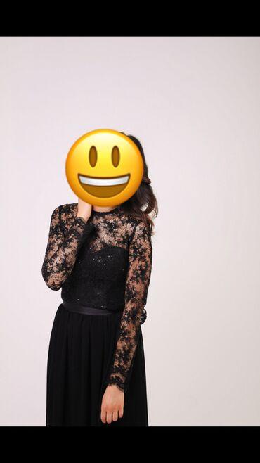 черное длинное платье в Кыргызстан: Продаю длинное вечернее платье из гипюра и гафрированного шифона