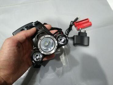10377 elan   İDMAN VƏ HOBBI: Baş Fənəri 3 lampalı 2x18650 batareya Adapterlidir Velosiped, balıqçıl