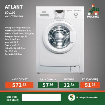 Öndən Avtomat Washing Machine Atlant 6 kq