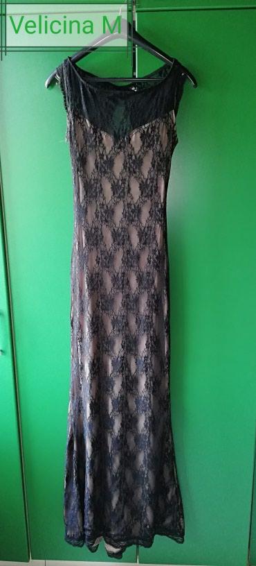 Haljina cipkasta - Srbija: Crna cipkasta duga haljina, obucena samo jednom