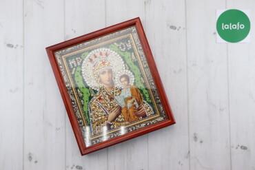 Декор для дома - Украина: Ікона з камнями Сваровськи, вишита бісером    Висота: 33 см Ширина: 29