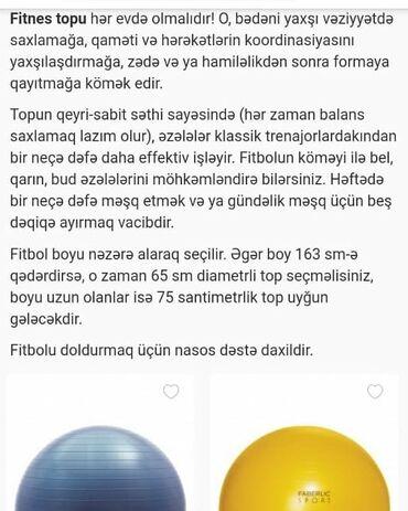 Toplar - Azərbaycan: Fitnes ucun top : 1) 75 sm-910017-sari-36 m. 2) 65 sm-910016-goy-30 m
