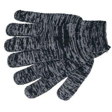 Бытовая химия, хозтовары - Кыргызстан: Перчатка трикотажная черная в серую полоску
