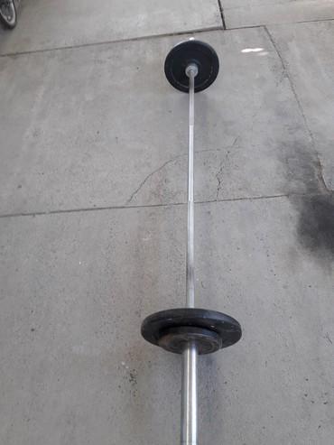 гантели sportex в Кыргызстан: Гриф - под Олимпийский, длинна - 2,1м. Блины не обрезиненые - отдельно