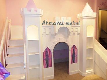 Детская мебель в Кок-Ой: Двухъярусный кровать, Дворец . размер матраса 190/80см. материал из с