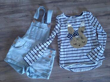 H & M komplet za devojcice. Sorc teksas na tregere i majica bele