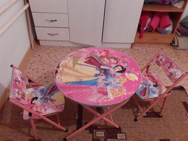 Детский столик с двумя стульями для девочек, железныйРегулировка в два