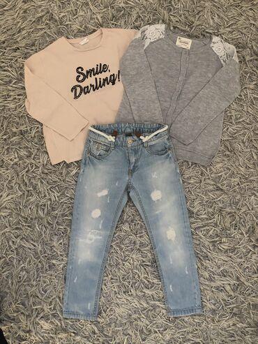 Zara farmerke, majica i tanak pamučni džemper, vel 5