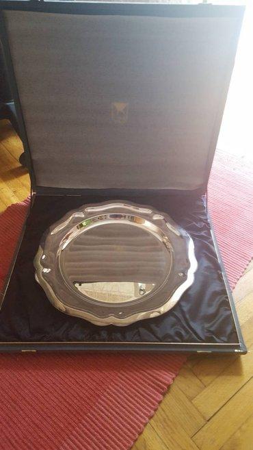 Posluzavnik - Srbija: Prelep posrebljeni posluzavnik,kupljen davno u Moskvi. ima sertifikat
