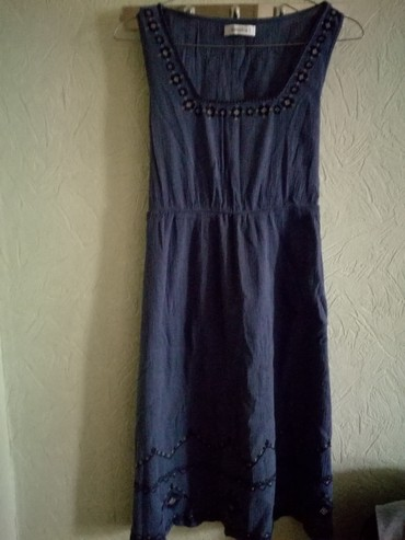 lux материал в Кыргызстан: Легкое летнее платье - материал марлевка (синее)Размер - М Цена - 300с