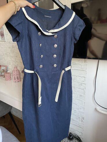 MONA lanena haljina, KAO NOVA. M velicina. Kupljena u Moni. Sa koznim